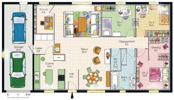Modèle de plan de maison plain-pied avec 3 chambres et garage 2 voitures