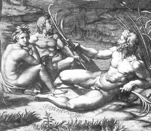 Le jugement de paris, tekening van Rafael die alss inspiratie diende voor le déjeuner sur l'herbe van Manet