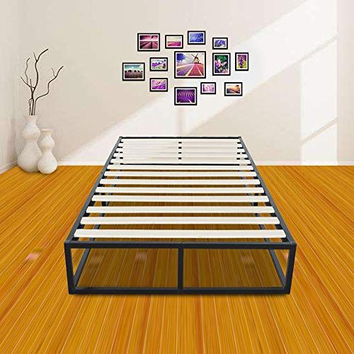 Hommoo 10 Inch Wooden Slats Metal Bed Frame Wood Platform Bedroom
