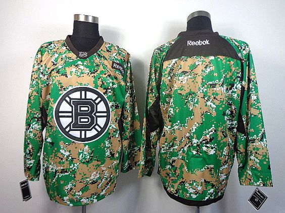Boston Bruins Blank 2013 Veterans Day Practice V-Neck Jersey - Digital Camo