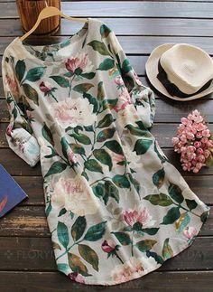Vestidos de - $52.32 - Algodão Linho Floral Manga comprida Mini Informal Vestidos de (1955119079)