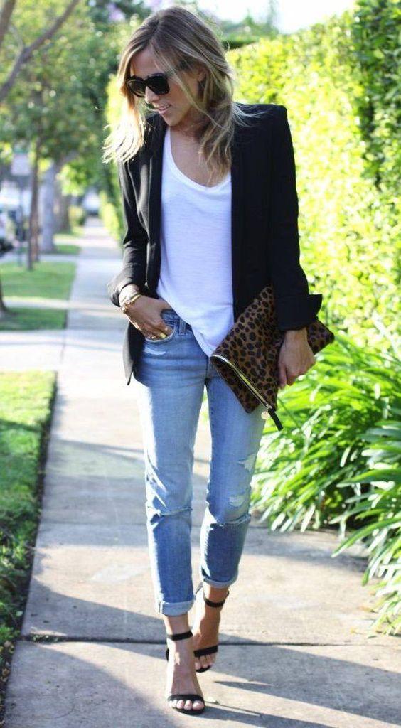 Cute Blazer, White Tee, Distressed Jeans And Heels  #Jeans #Black #Blazers: