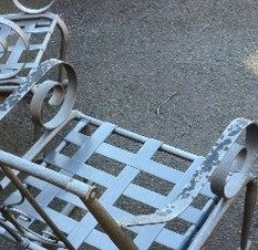 Painting Patio furniture- not my neighborhood but i wonder if Devin would notice more chairs....