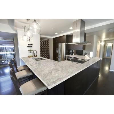 This slab of granite definitely emphasizes the white coloring but it looks great with the dark cabinetry to go along with it. It's all square corners and a little bit of shading, but definitely something beautiful.