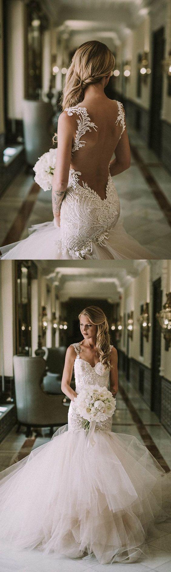 gorgeous tulle straps trumpet mermaid ruffles wedding dress