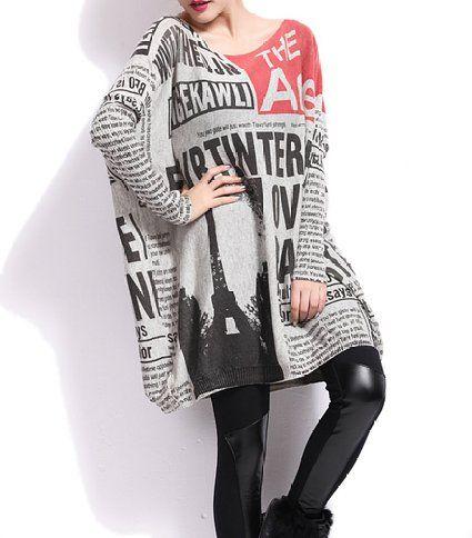 ELLAZHU Damen Baggy Mode Bedruckt Rundhals Pullover Einheitsgröße GY269 NP: Amazon.de: Bekleidung
