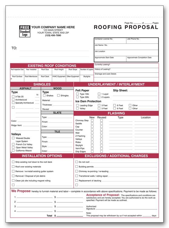 Printable Roofing Estimate Sheet | ROOFING FORMS. Roofing EstimateProposal  TemplatesTin ManWorking ...