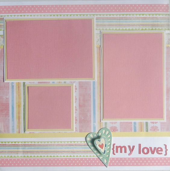 MY LOVE 12 x 12 premade scrapbook page - girl on Etsy, $9.00