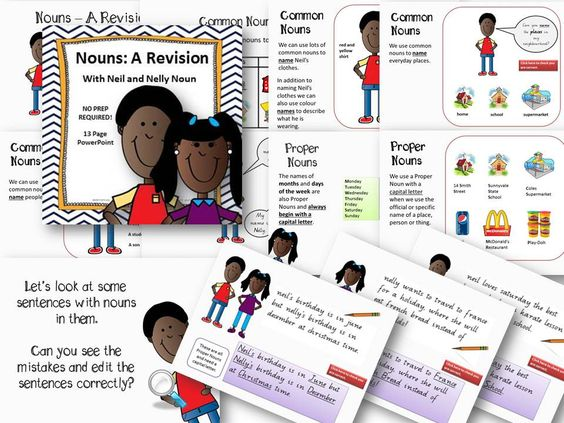 Nouns: A Revision with Neil and Nelly Noun - 13 Page PowerPoint No Prep  Covers both common and proper nouns. Contains 13 slides for whole class review and discussion. No Prep required just download and go as this is a self-contained lesson.