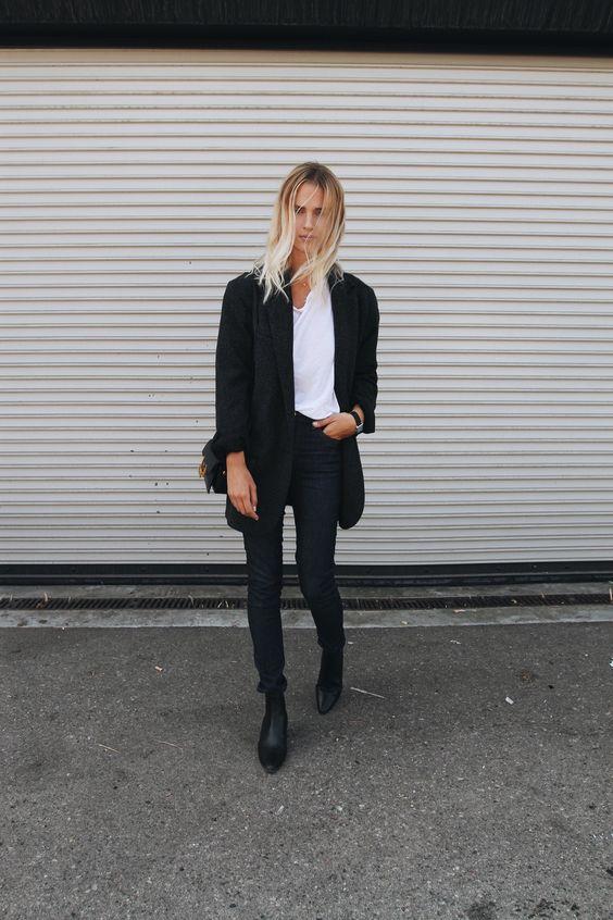 Isabel Marant blazer, Acne Studios jeans, Saint Laurent boots & lulu bag. Via Mija: