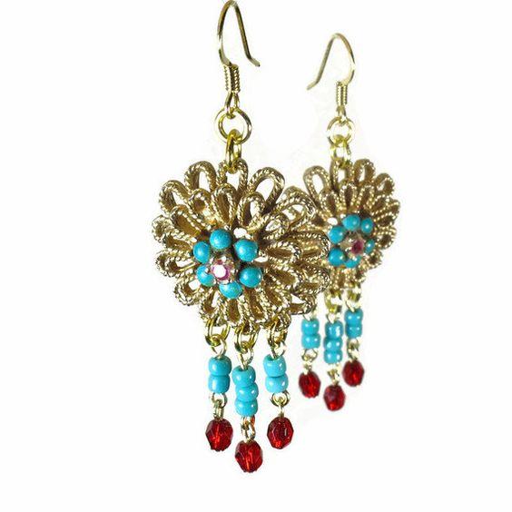 Turquoise Earrings Repurposed Jewelry Boho Tribal by BluKatDesign, $22.00