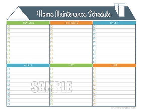 Home Maintenance Schedule - Home Maintenance Calendar - Printable ...