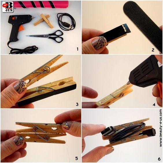 Beauty4Us: DIY: Organizador para Cabos USB/Carregadores - Passo a passo descrito no Blog.
