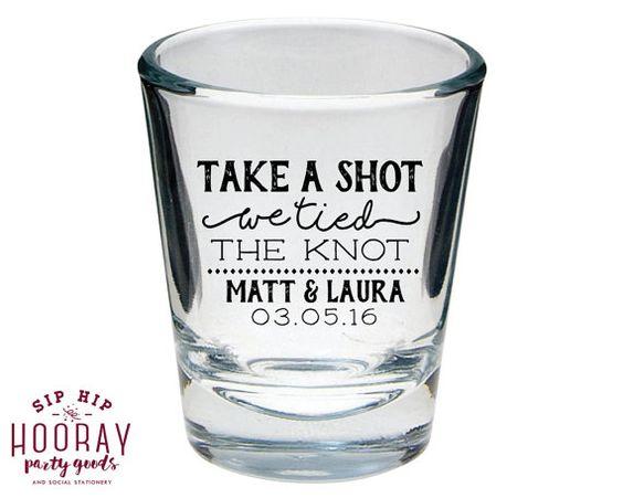unique wedding favor ideas - custom shot glass wedding favors