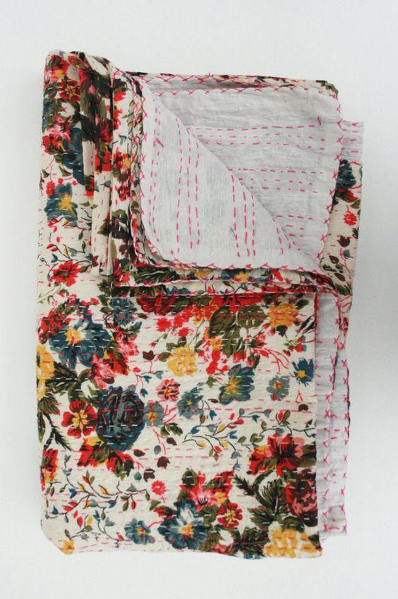 floral quilt.