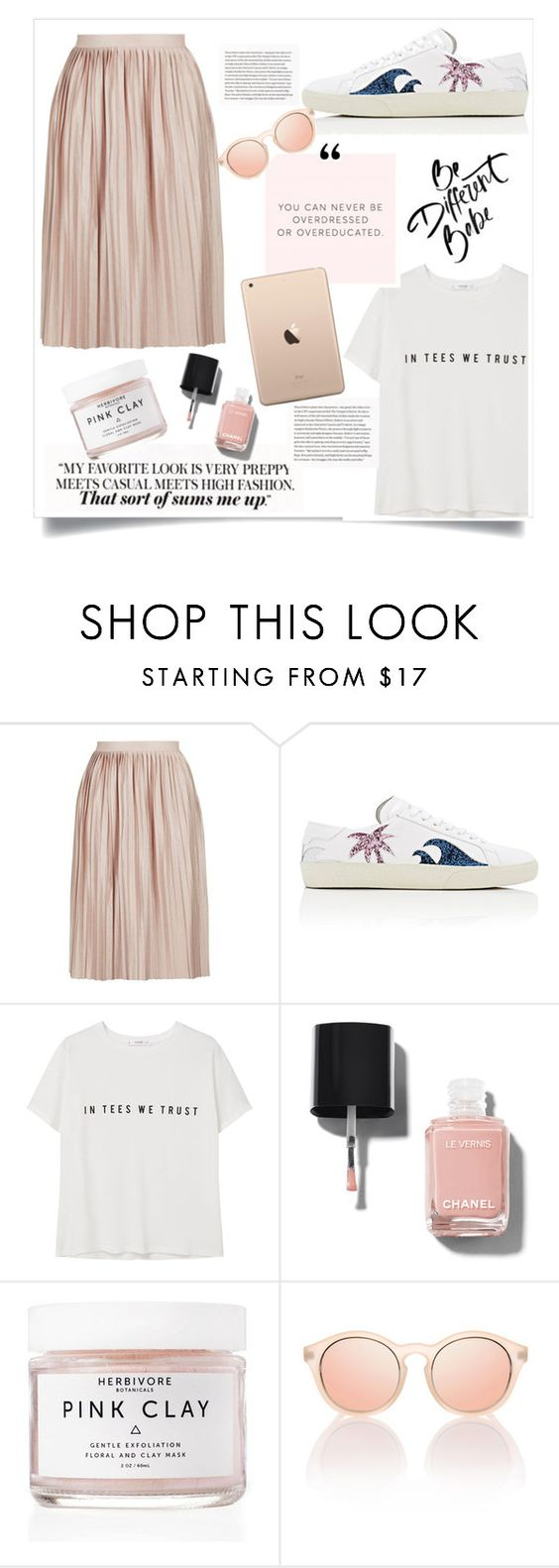 """""""Untitled #375"""" by lily1lol ❤ liked on Polyvore featuring Topshop, Yves Saint Laurent, MANGO, Chanel and Herbivore"""