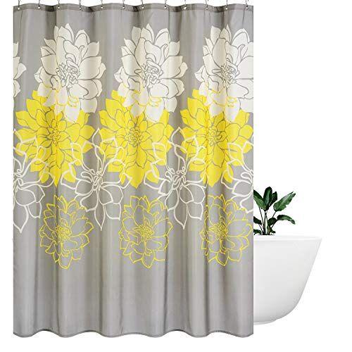 Wimaha Peony Flower Fabric Shower Curtain Water Resistant Standard Shower Bath Curtain For Bathroom Shower Bathtub