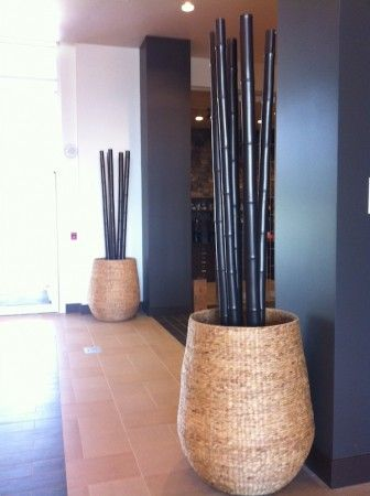 18KARAT Hyacinth Baskets Greenscape Design Hospitality Hotel Decor Vancouver Black Bamboo Poles