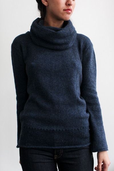 souchi luxe cashmere abigail cowl neck sweater in ink