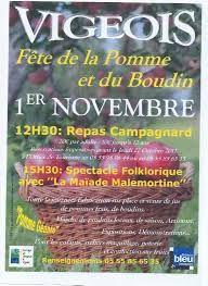 Fête de la pomme et du boudin le 1er novembre à vigeois