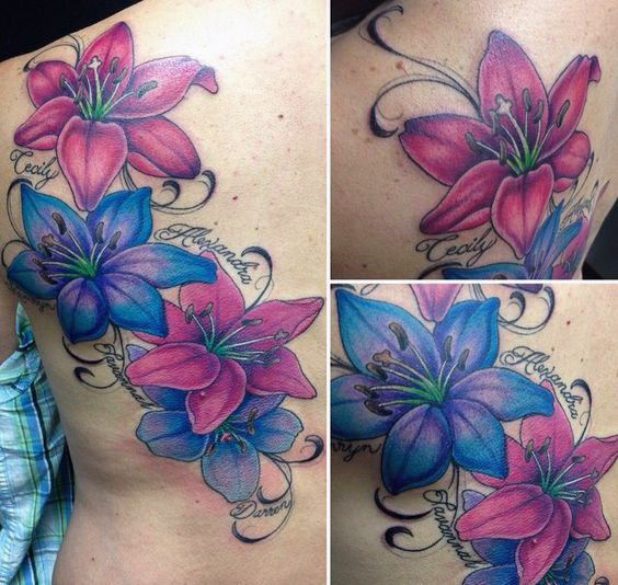 Lily and script tattoo. Colourful pink and blue Lily flower tattoo on side.