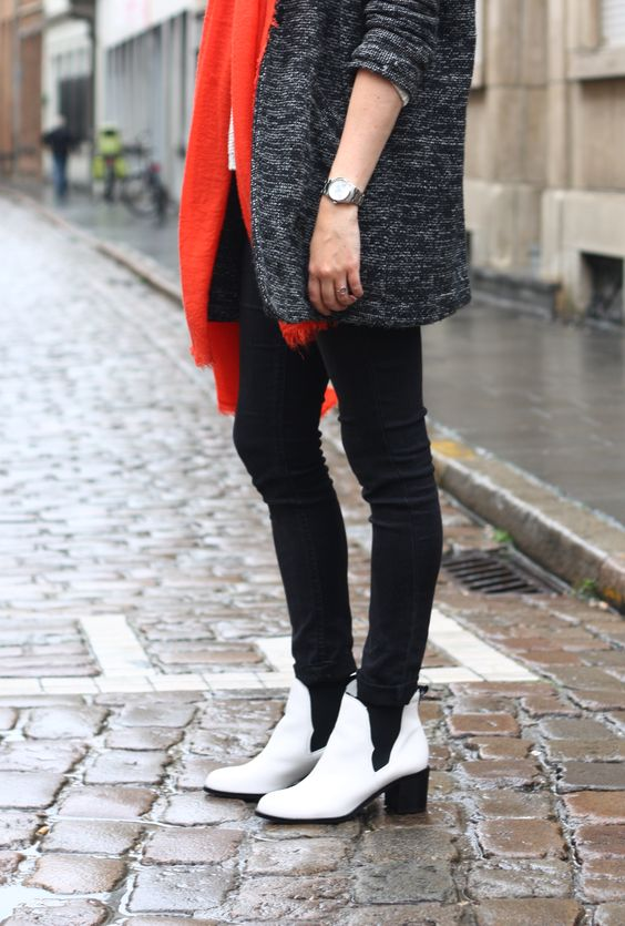 white Sam Edelman boots, red scarf