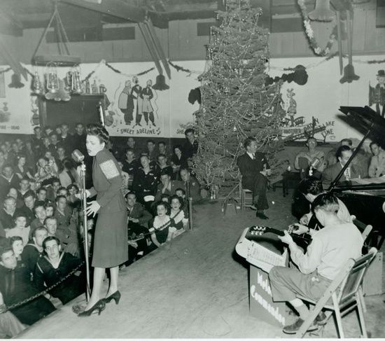 1944, Lena Horne performing at the Hollywood Canteen.