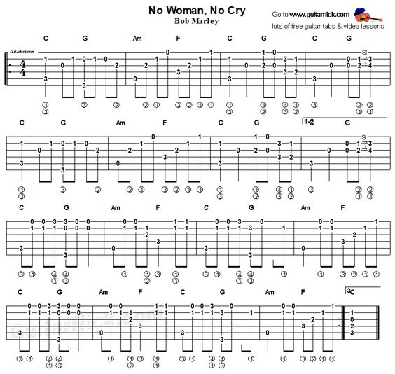 No Woman No Cray, Bob Marley - fingerstyle guitar tab | Ukelele ...