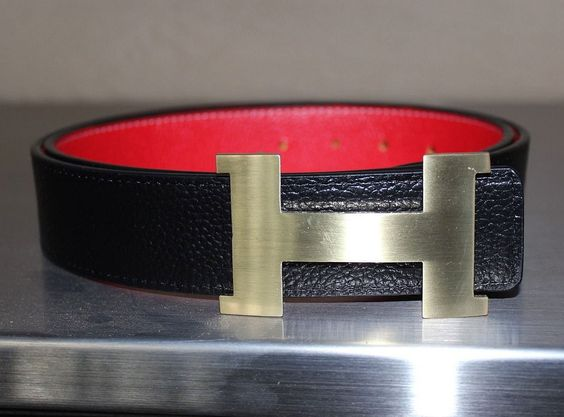 replica birkin bag - Hermes Belt (Men's Pre-owned Black & Red Leather Belt with Gold H ...