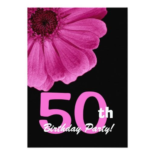 50th Birthday Party For Her Pink Daisy W1818 5x7 Paper Invitation Card