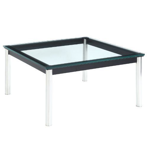 """Lexington Modern Le Corbusier Style LC10 End Table by Lexington Modern. $399.00. Polished chrome legs. 1/2"""" thick glass. Black iron frame. The LC10 End Table  is perfect as a stand alone or in collaboration with the other models in the Le Corbusier collection. It works with both modern and traditional decors.  This item is a high quality reproduction of the original. Product Dimensions: 28""""L x 28""""W x 14""""H   Product Weight: 24lbs. Save 61%!"""