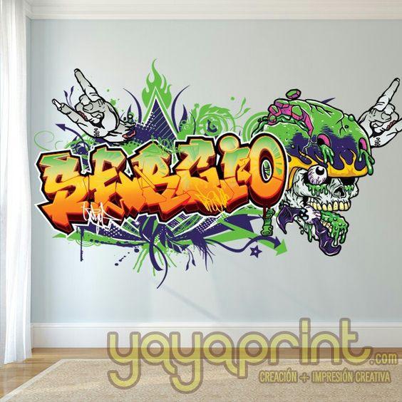 Tu nombre en graffiti de vinilo con calavera zombie nuevo - Habitaciones con graffitis ...