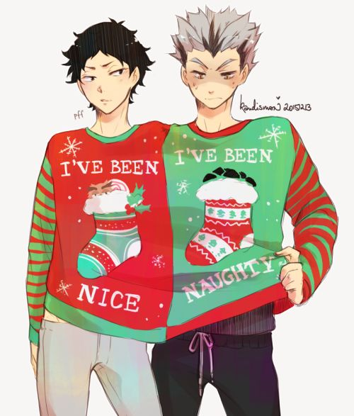 kandismon: bokuaka in 【CHRISTMAS SWEATERS】 for the #hq_69min twitter !! ✨