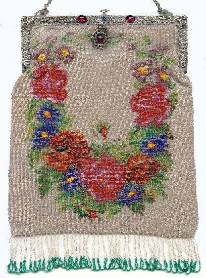 Micro-Beaded Floral Purse with Jeweled Frame