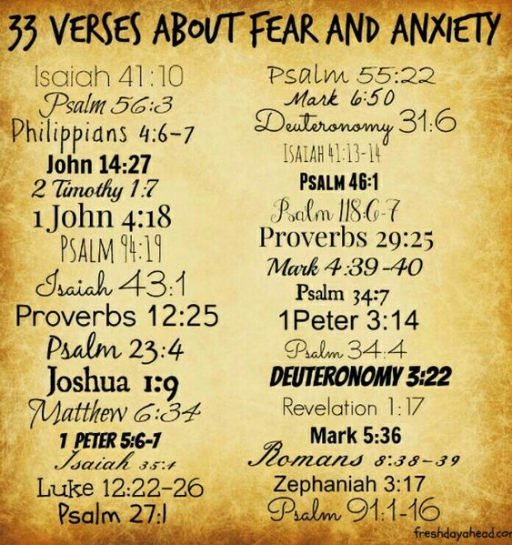 """33 Verses to Remind Us - We Do Not Have to Fear: 1. """"So do not fear, for I am with you; do not be dismayed, for I am your God. I will strengthen you and help you; I will uphold you with my righteous right hand."""" Isaiah 41:10 2. """"When I am afraid, I put my trust in you."""" Psalm 56:3 3. """"Do not be anxious about anything, but in every situation, byprayer and petition, with thanksgiving, present your requests to God. And the peace of God, which transcends all understanding, will guard your hearts…"""