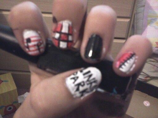Linkin Park Nails (left hand)