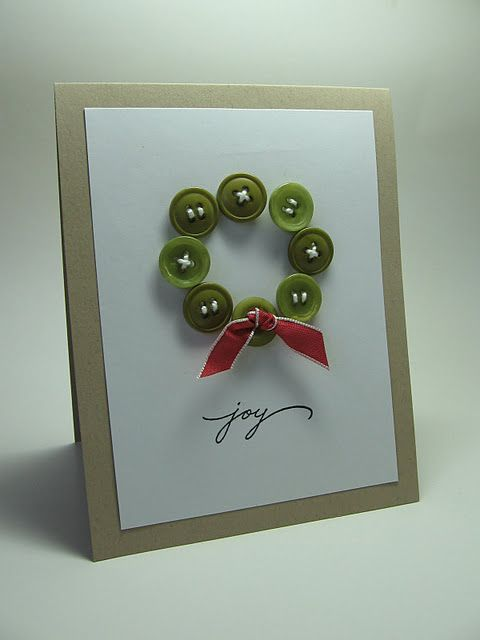 Handmade Christmas card with green button wreath and