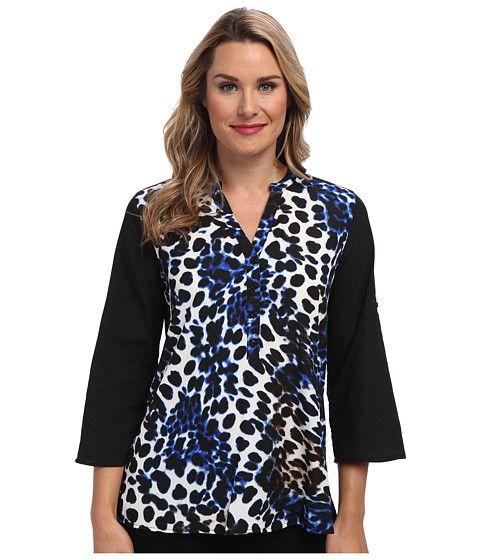 Calvin Klein Calvin Klein  Print 12 Button Roll Sleeve Celestial Multi Womens Blouse for 37.99 at Im in!