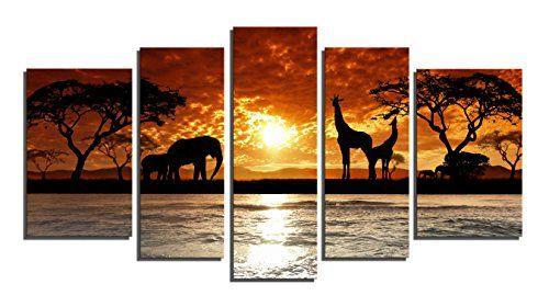 Yin Art 5panel Split Canvas Print Wall Art Set African Safari Sunset Landscape With Elephant And Giraffe Y Elephant Wall Art Animal Wall Art African Sunset