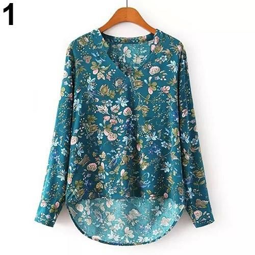 New Women/'s Vintage V-neck Floral Print Cotton Long Sleeve Top T-Shirt Top