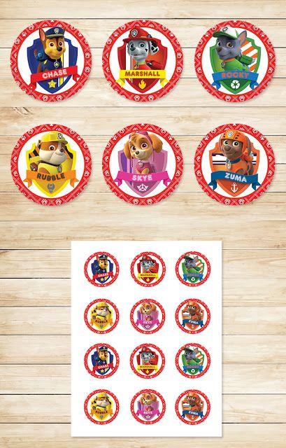 Free Printable Paw Patrol Cupcake Toppers | Paw Patrol Stickers | Red BG Theme ~ Free Paw Patrol Printables