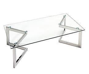 Mesa de centro de acero y cristal charlize mesas acero - Mesas acero y cristal ...