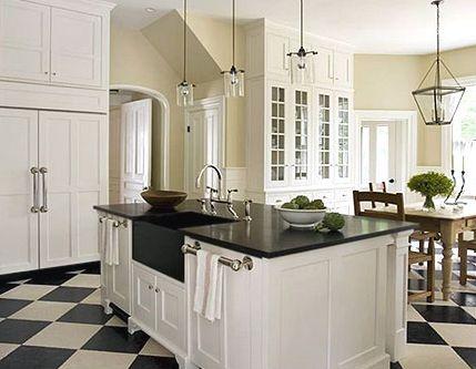 White kitchen with checker floor, kitchen design, kitchen ideas, kitchen inspiration!