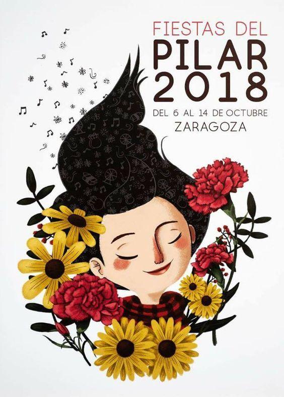 Cartel Fiestas del Pilar 2018. Titulo: La Pili. Autora: Mamen Marcen