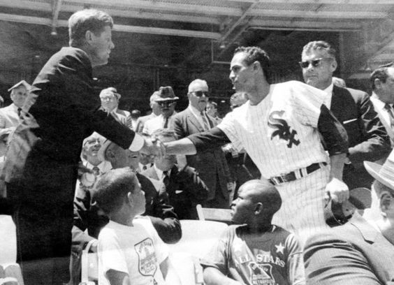WhiteSox great Luis Aparicio shakes hands w/ #JFK at #ComiskeyPark.
