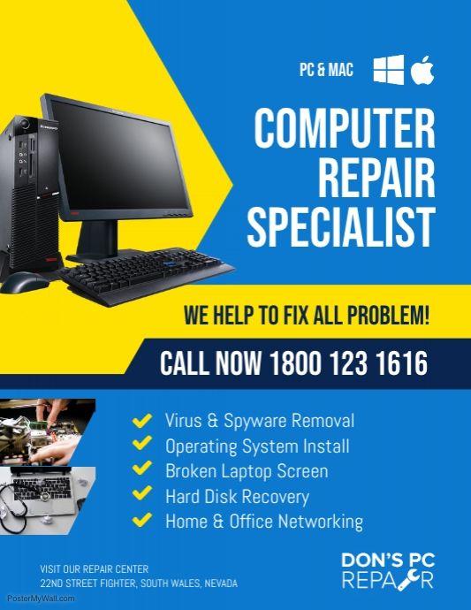 Computer Repair Services Flyer Template Computer Repair