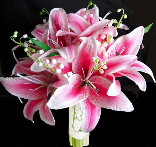 Natural Touch Hot Pink STARGAZER Lilies Bouquet | Flower ...
