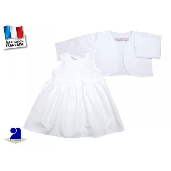 robe et bolro fille blanc en coton pour une crmonie taille du 1 mois au - Bolero Fillette Pour Mariage