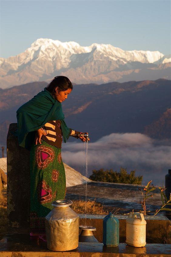 Water collection . Pokhara, Nepal