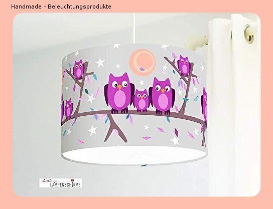 Kinderzimmerlampe mit Eulen in Lila und Grau für Babyzimmer ...